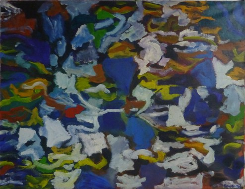 "Amaranth Ehrenhalt, 1989, Acrylic on Canvas, 19"" x 36"""