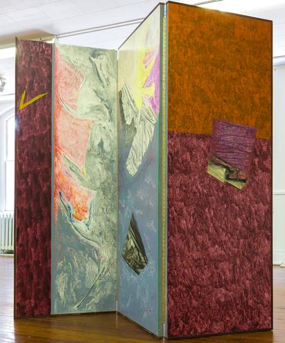 William Manning, Untitled, Oil on Wood, Three 79x30.5 Panels