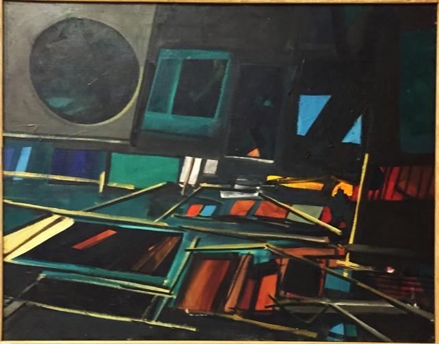 "John Hultberg, Burning Room, 1963, Oil on Canvas, 27 1/2"" x 35 1/2"""